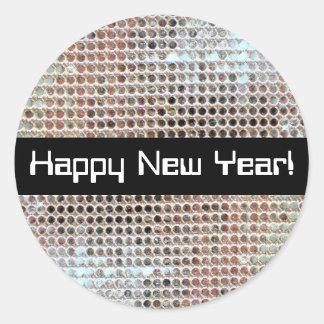 Pegatina de la lentejuela de la Feliz Año Nuevo