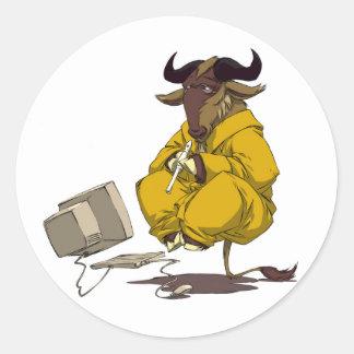 Pegatina de la levitación de la meditación del GNU