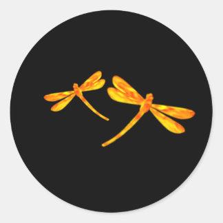 Pegatina de la libélula - fuego