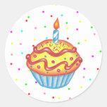 Pegatina de la magdalena del cumpleaños
