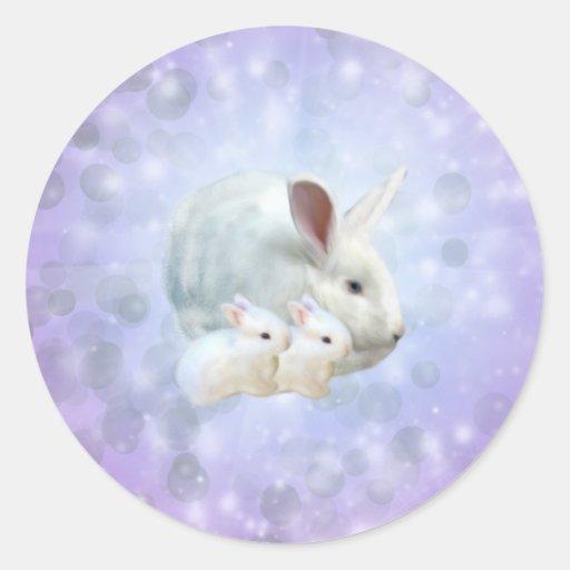 Pegatina de la magia del conejito de pascua