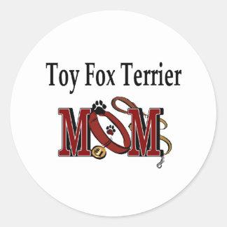 Pegatina de la mamá del fox terrier del juguete