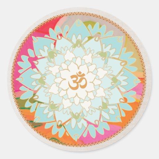 Pegatina de la mandala del símbolo de la flor y de