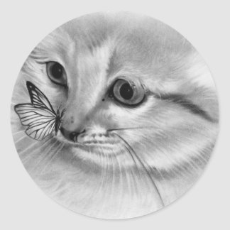 Pegatina de la mariposa del gatito