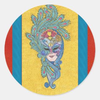 Pegatina de la máscara del pavo real del carnaval