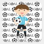Pegatina de la meta 1 del muchacho del fútbol
