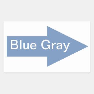 Pegatina de la muestra de la flecha del gris azul