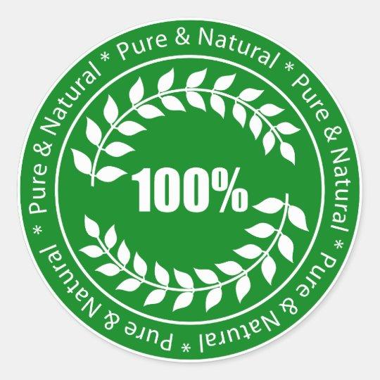 Pegatina de la muestra pura y natural del 100%