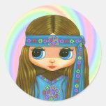 Pegatina de la muñeca del Hippie del flower power