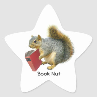 Pegatina de la nuez del libro de la ardilla