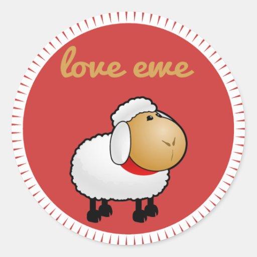 Pegatina de la oveja del amor