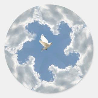Pegatina de la paloma del lado positivo de la nube
