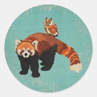 Pegatina de la panda roja y del búho