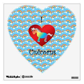 Pegatina de la pared de los unicornios del corazón vinilo decorativo
