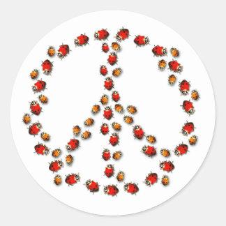Pegatina de la paz de la mariquita