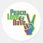 Pegatina de la paz, del amor y de Dave