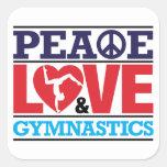Pegatina de la paz, del amor y de la gimnasia