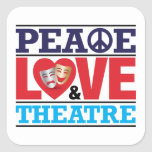 Pegatina de la paz, del amor y del teatro