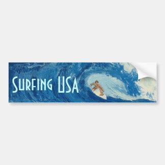 Pegatina de la persona que practica surf del arte  pegatina de parachoque