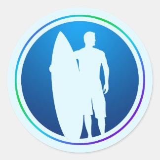 Pegatina de la persona que practica surf y de la