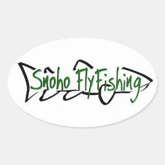 Pegatina de la pesca con mosca de Snoho - verde