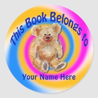 Pegatina de la placa de libro del oso de peluche