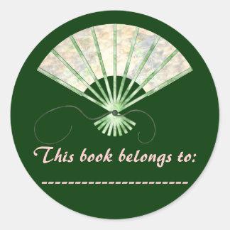 Pegatina de la placa de libro (fan rosado y verde)