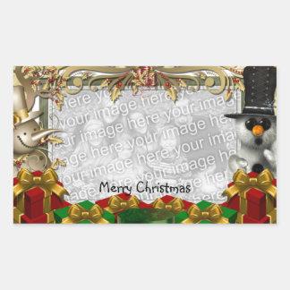 Pegatina de la plantilla de la foto del navidad