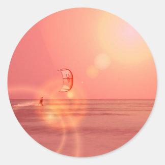 Pegatina de la puesta del sol de Kiteboarding