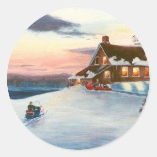 Pegatina de la puesta del sol de la estrella polar