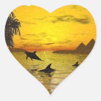 Pegatina de la puesta del sol del delfín