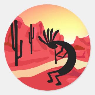 Pegatina de la puesta del sol del desierto de