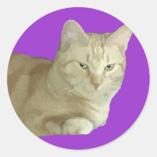 Pegatina de la púrpura del gato de Óscar