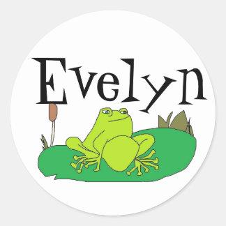 pegatina de la rana de la diversión para Evelyn