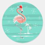 Pegatina de la raya del flamenco del navidad