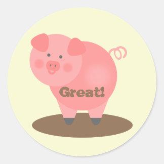 Pegatina de la recompensa del estudiante - cerdo y