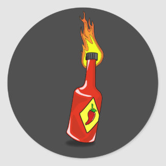 Pegatina de la salsa caliente del dibujo animado