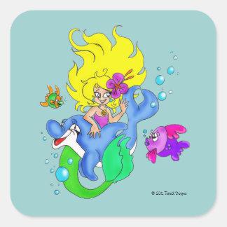 """Pegatina de la """"sirena y del delfín"""""""