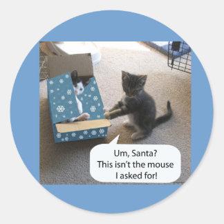 Pegatina de la sorpresa del navidad del gatito