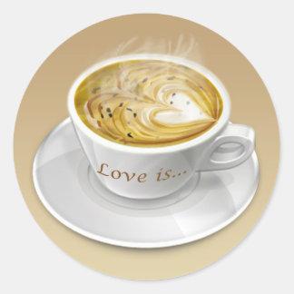 Pegatina de la taza de café del amor