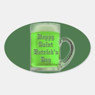 Pegatina de la taza de cerveza del verde del día