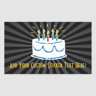 Pegatina de la torta de cumpleaños o etiqueta