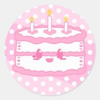 Pegatina de la torta de Kawaii