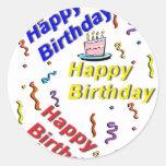 Pegatina de la torta del feliz cumpleaños