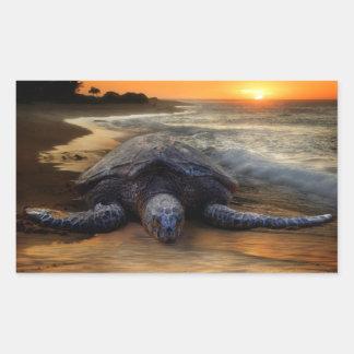 Pegatina de la tortuga de mar de la puesta del sol
