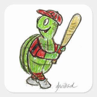Pegatina de la tortuga del béisbol pegatina cuadrada