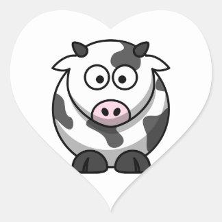 Pegatina de la vaca del dibujo animado (corazón)