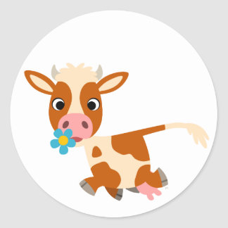 Pegatina de la vaca del dibujo animado que trota