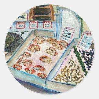 Pegatina de la venta de los mariscos (lugar