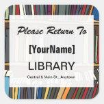 Pegatina de la vuelta del libro de la biblioteca